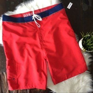 OLD NAVY Red Board Shorts Swimsuit Trunks 40 NWT